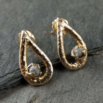 Gold diamond droplet Stud earrings raw Diamond Post earrings Teardrop 14k Rough Diamonds ByAngeline  Earrings