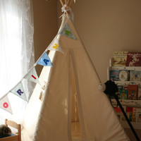 Kids teepee, plain, natural bull denim/ heavy cotton twill with window and tie back curtains NO MAT