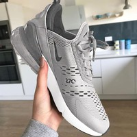 NIKE Air Max 270 Hot Sale Trending Men and Women Fashion Splicing Color Sneakers B-H-RYXM-SF Grey