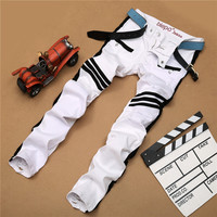 Hot Sale Mosaic Stylish White Ripped Holes Slim Pants Jeans [6541738883]