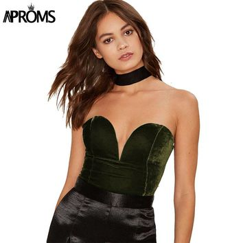 Aproms Sexy Sleeveless Slim Fit Velvet Bodysuit Women V Neck Backless Lace Up Romper Jumpsuit Velour Feminino Vestido Roupas