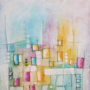 abstract mid-century pastel painting blue yellow pink original modern art