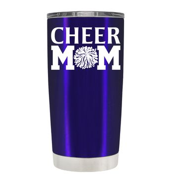 Cheer Mom Pom Pom on Intense Blue 20 oz Tumbler Cup