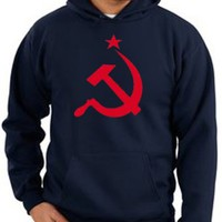 USSR Soviet Union Republic Russia RED Hammer and Sickle Adult Pullover Hooded Sweatshirt Hoodie Hoody - Navy