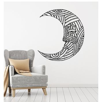Vinyl Wall Decal Crescent Ornament Abstract Moon Bedroom Decoration Stickers Mural (g407)