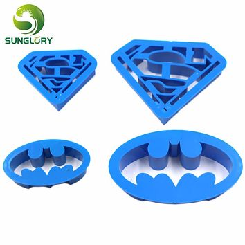 4PCS Plastic Superman Batman Cookie Cutter Pastry DIY Biscuit Mold Sugar Craft Fondant Decoration Mold Baking Tools For Cakes
