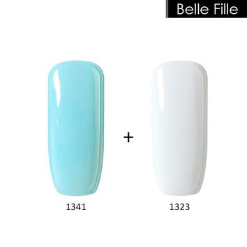Belle Fille Varnish Manicure Nail Polish UV Gels LED Soak Off Fingernail Gel Polish White Gelpolish Gel Toe Nails Bling Coat