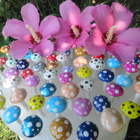 beautiful set of 50 button top mushrooms you pick your fav colors great for weddings birthday terrarium fairy garden patio
