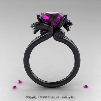 Modern Dragon 14K Black Gold 3.0 Ct Amethyst Designer Engagement Ring R601-14KBAM
