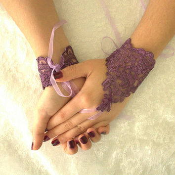 Purple Wedding gloves lace gloves free ship, french lace, unique gloves