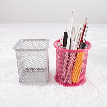 Office&school Supplies Metal Pen Holder Grid Pen Container Student Stationery Desk Accessories Organizer Free Shipping 01201