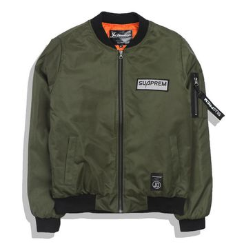 Air Force pilot jacket baseball suit wave of brand thin tide men and women Military green
