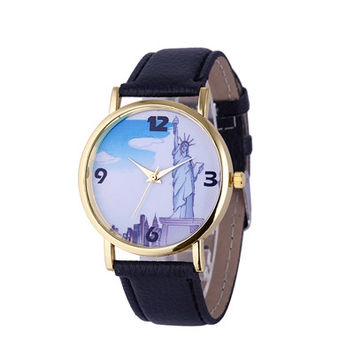 Women Watches Dress Clock Statue of Liberty Mens PU Leather Band Quartz Wrist Watch Relogio Feminino CF