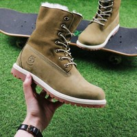Best Online Sale Timberland Authentics Waterproof Fold DownShearling Army Green Mid Boots Outdoor Sneaker