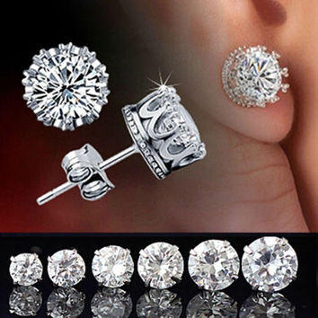 Fashion Elegant Women's Retro Classical 925 Silver Crystal Crown Ear Stud Earrings Jewelry = 5987759169