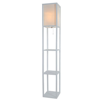 Light Accents Wooden Floor Lamp with White Linen Shade (White)