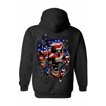 Unisex Zip Up Hoodie USA Flag Skulls & Chains