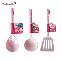 Keythemelife Multi-purpose Hello kitty 2 in 1 Spoon Hollow spatula Plastic Soup Spoons for Kitchen 2C