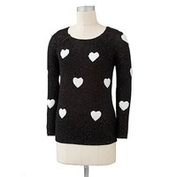 LC Lauren Conrad Lurex Heart Sweater