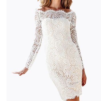 Women Dress Summer  Floral Vestidos Elegant Vintage Retro Lace Dress Sexy Long Sleeve Off Shoulder Bodycon Party Dress