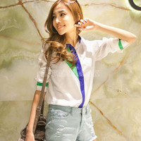 Long Sleeve Chiffon Lapel Blouse
