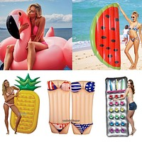 6 Style Inflatable Pool Float Giant Swan Watermelon Floats Pineapple Flamingo Swimming Ring Child&Adult Water Toy boia piscina