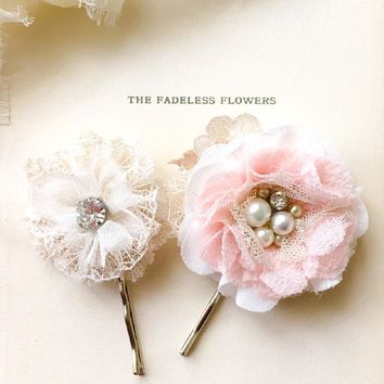 Blush Pink Floral Hair Pins - Vintage Pearl and Rhinestone