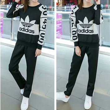 """""""Adidas"""" Fashion Casual Clover Letter Print Multicolor Long Sleeve Set Two-Piece Sportswear"""