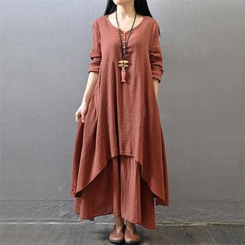 Flowing Linen Loose Full Long Sleeve Button Front Dress