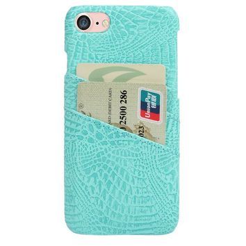 CROC CARD HOLDER PHONE CASE AQUA