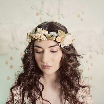 Romantic flower crown in ivory yellow blue and by mignonnehandmade
