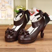 Sweet Dark Brown Bows Lolita Heels Shoes