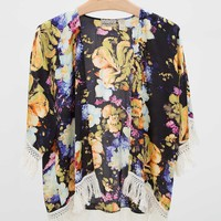 Gimmicks by BKE Floral Cardigan