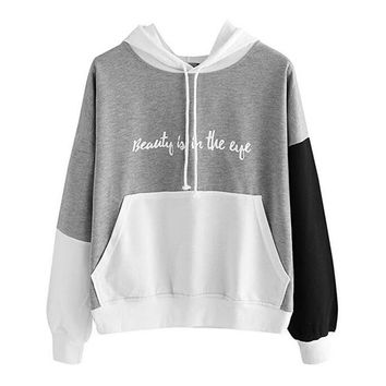 Sweatshirt Women's Pullover Fleece Drop Shoulder Striped Hoodie