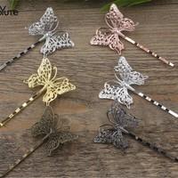 20 Pieces 36*25MM Butterfly Hair Clip 6 Colors Plated Women Barrette Hair Accessories ,Girls hair embellishments