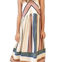 Apricot Striped Bohemian Fashion Sleeveless Midi Dress