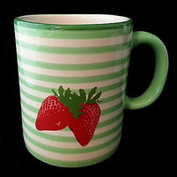 Strawberries Coffee Mug Cup Starbucks Green Stripes 2007 Strawberry 13oz k110