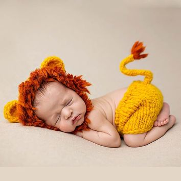 Newborn Mane Lion Outfits Baby Hat Photography Caps Pants