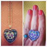 Sugar skull Necklace and Matching Ring set