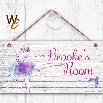 "Ballet Sign, ?Dance, Ballerina Personalized Sign, Teen's Room Sign, Kid's Name, Kids Door Sign, Nursery Art, 5"" x 10"" Sign, Made To Order"