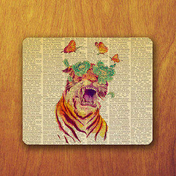 Tiger Butterfly Painting Mouse Pad Flower Abstract Dictionary Pattern Vintage MousePad Office Pad Work Accessory Personalized Custom Gift