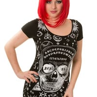 Banned Goth Culture Ouija Skull Pentagram Cut Out Mini Dress Top