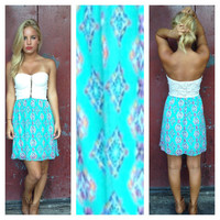 Aqua Tribal Print Lace Bodice Strapless Dress
