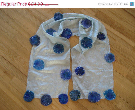 SALE Nuno Felted Crepe Scarf Shawl Wrap Blue: Teal, Azure, Sky Blue, Turquoise, Cyan, Wool. OOAK. Light. Gift under 25