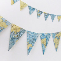 Vintage World Map Bunting - Beach House Banner - Eco-friendly garland upcycled from vintage world atlas