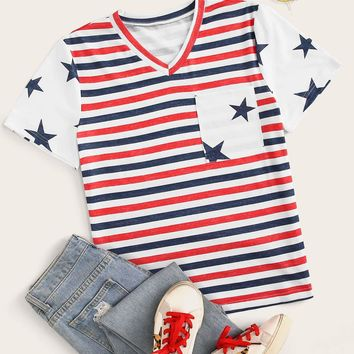 Stripe & Star Print V-neck Pocket Tee