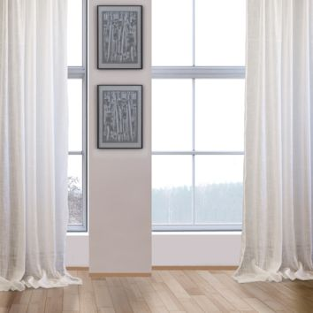 KARMA LINEN LOOK SHEER CURTAIN PANELS - PAIR