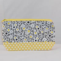 Gray, Yellow and White Floral Zipper Pouch