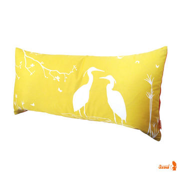 Yellow Egret Lovers in the Swamp Rectangle Pillow