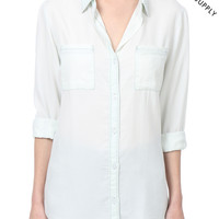THREAD & SUPPLY PREMIUM DESIGN Womens Chambray Denim Bleach Button Front Shirt (CLEARANCE)